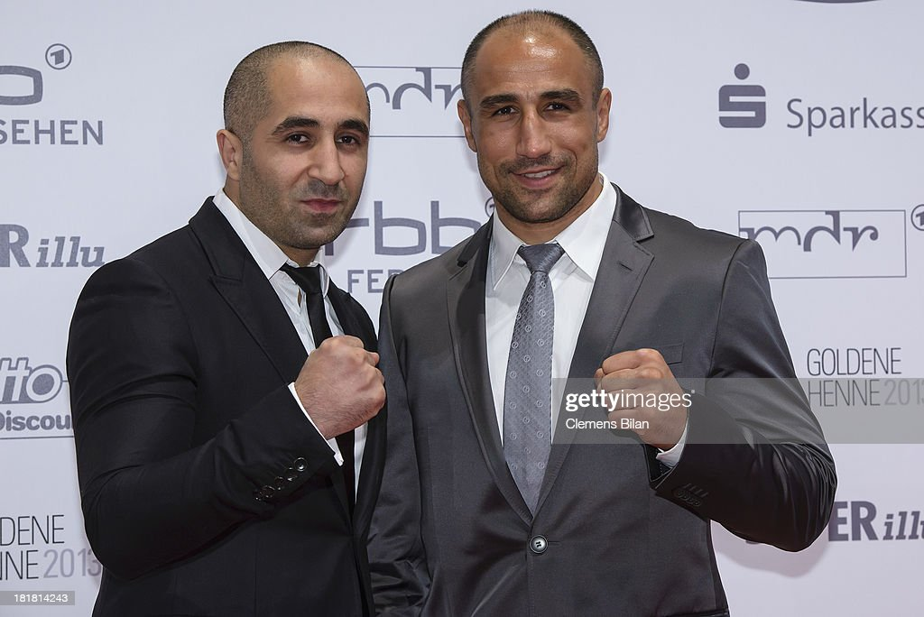 Arthur Abraham and Alex Abraham arrive for the Goldene Henne 2013 award at Stage Theater on September 25 2013 in Berlin Germany