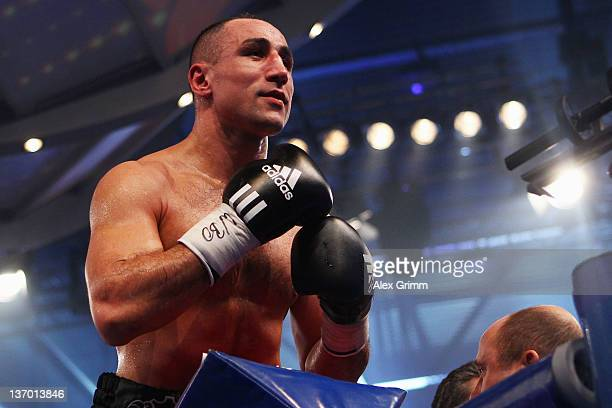 Arthur Abraham of Germany celebrates after defeating Pablo Oscar Natalio Farias of Argentina during their WBO Europe Super middleweight title fight...