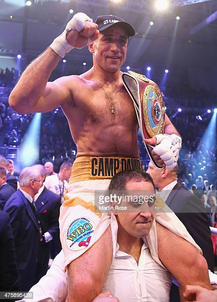 Arthur Abraham of Germany celebrates after winning over Robert Stieglitz of Germany after the WBO World Championship Super Middleweight title fight...