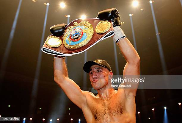 Arthur Abraham of Germany celebrates winning the WBO World Championship title after the WBO World Championship Super Middleweight title fight vs...