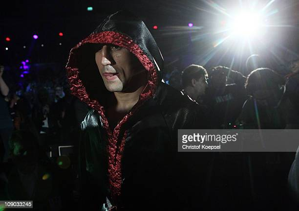 Arthur Abraham of Germany enetrs the boxring before the super middleweight fight between Arthur Abraham of Germany and Stjepan Bozic of Croatia at...