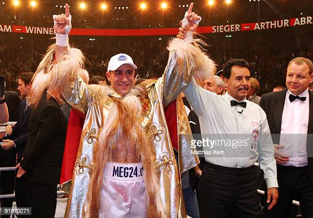 Arthur Abraham of Germany poses after winning the WBC Super Middleweight fight against Jermain Taylor of the US during the 'Super Six World Boxing...