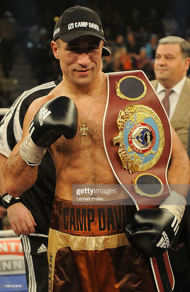 Arthur Abraham of Germany poses with his belt after the WBO World Championship Super Middleweight title fight at Arena Nurnberger on December 15, 2012 in Nuremberg, Germany.