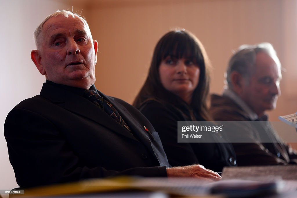 Arthur Allan Thomas (L) speaks during a press conference at the Pukekawa Hall on April 10, 2013 in Auckland, New Zealand. Arthur Allan Thomas was pardoned for the 1970 murder of Jeanette and Harvey Crewe and addressed the media following comments recently regarding the integrity of the late police prosecutor Bruce Hutton.