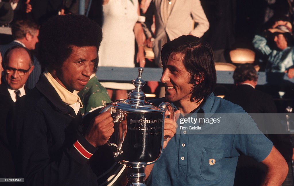 Arthur Ash and <a gi-track='captionPersonalityLinkClicked' href=/galleries/search?phrase=Ilie+Nastase&family=editorial&specificpeople=215468 ng-click='$event.stopPropagation()'>Ilie Nastase</a> during U.S. Open Tournament - Men's Doubles - September 10, 1972 at Forsest Hills, New York in Forest Hills, New York, United States.