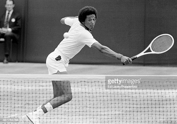 Arthur Ashe of the United States in action at Wimbledon circa July 1975 Ashe won the Men's Singles final defeating Jimmy Connors of the United States...
