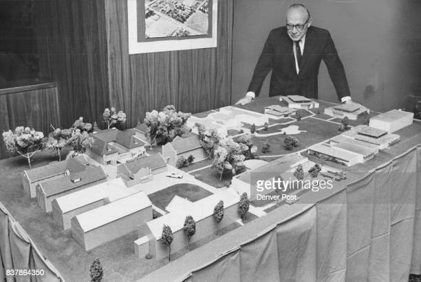 Arthur B Lorber views scale model of Denver Asthma Institution He is president of the Children's Asthma Research Institute and Hospital Credit Denver...
