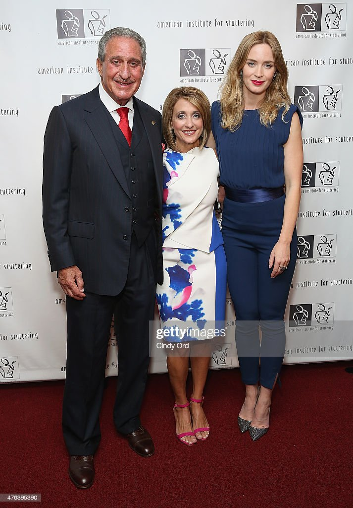 Arthur Blank, Angie Macuga and Emily Blunt attend American Institute for Stuttering Freeing Voices Changing Lives Gala on June 8, 2015 in New York City.
