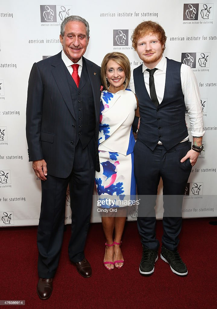 Arthur Blank Ed Sheeran and Angie Macuga attend 9th Annual American Institute for Stuttering Freeing Voices Changing Lives Gala on June 8 2015 in New...