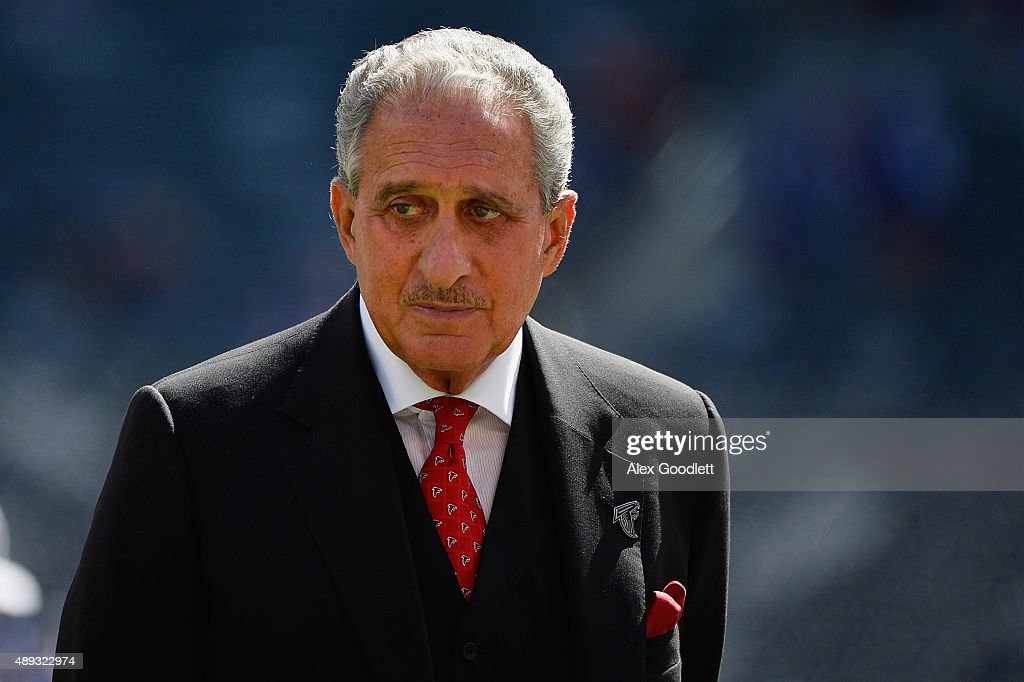 Arthur Blank owner of the Atlanta Falcons looks on prior to a game against the New York Giants at MetLife Stadium on September 20 2015 in East...