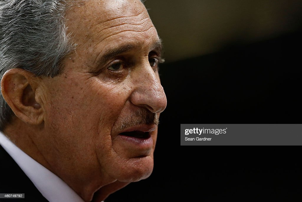 Arthur Blank owner of the Atlanta Falcons watches action prior to a game against the New Orleans Saints at the MercedesBenz Superdome on December 21...