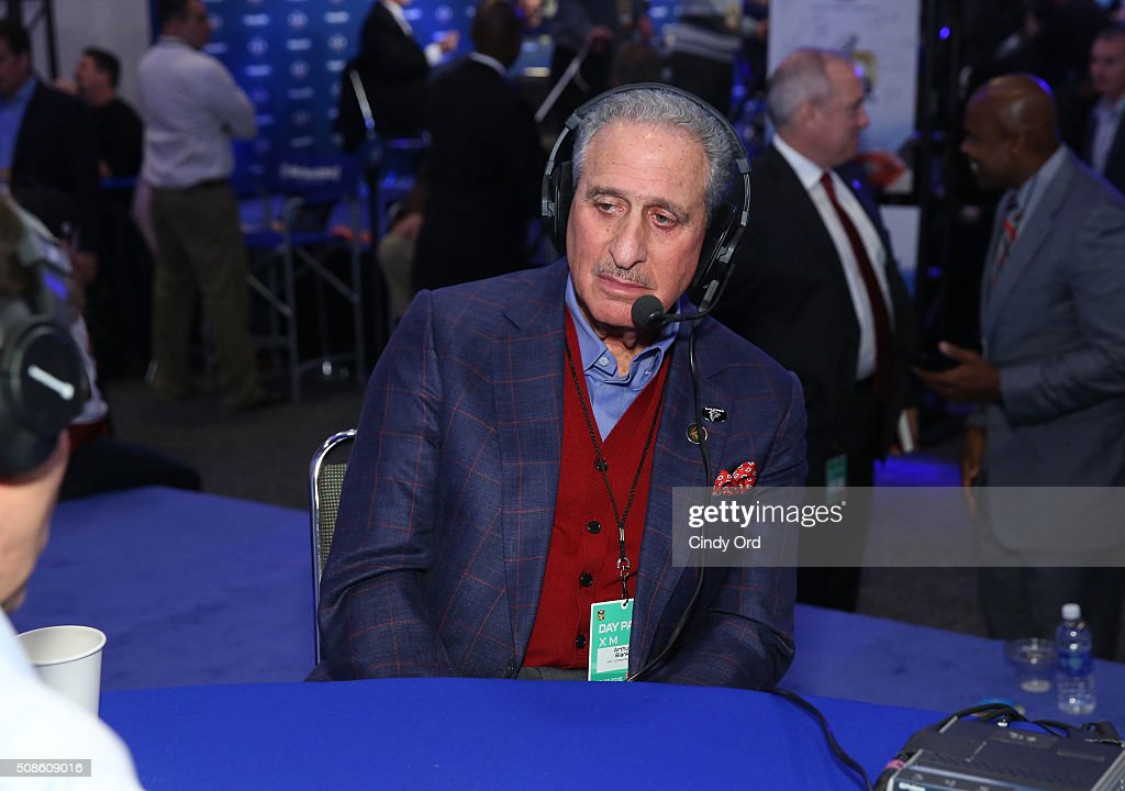 Arthur Blank owner of the NFL's Atlanta Falcons visits the SiriusXM set at Super Bowl 50 Radio Row at the Moscone Center on February 5 2016 in San...