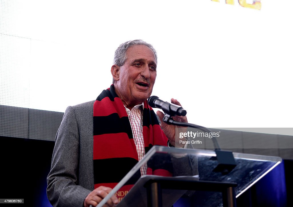 <a gi-track='captionPersonalityLinkClicked' href=/galleries/search?phrase=Arthur+Blank&family=editorial&specificpeople=1278336 ng-click='$event.stopPropagation()'>Arthur Blank</a> speaks onstage during the MLS Atlanta Launch Event at SOHO on July 7, 2015 in Atlanta, Georgia.