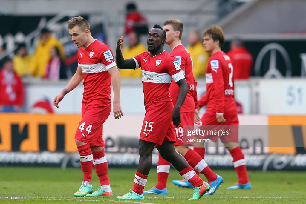 <a gi-track='captionPersonalityLinkClicked' href=/galleries/search?phrase=Arthur+Boka&family=editorial&specificpeople=550855 ng-click='$event.stopPropagation()'>Arthur Boka</a> of Stuttgart celebrates his team's first goal with team mates during the Bundesliga match between VfB Stuttgart and Hertha BSC Berlin at Mercedes-Benz Arena on February 22, 2014 in Stuttgart, Germany.