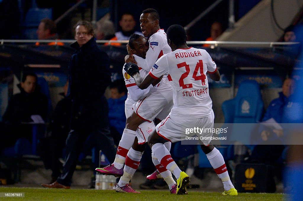 <a gi-track='captionPersonalityLinkClicked' href=/galleries/search?phrase=Arthur+Boka&family=editorial&specificpeople=550855 ng-click='$event.stopPropagation()'>Arthur Boka</a> of Stuttgart celebrates with teammates after scoring a goal during the UEFA Europa League Round of 32 second leg match between KRC Genk and VfB Suttgart at Cristal Arena on February 21, 2013 in Genk, Belgium.