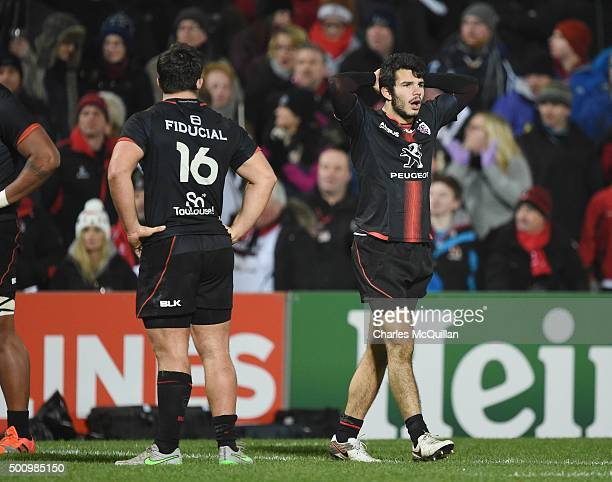Arthur Bonneval of Toulouse reacts after the European Champions Cup Pool 1 rugby game between Ulster and Toulouse at Kingspan Stadium on December 11...