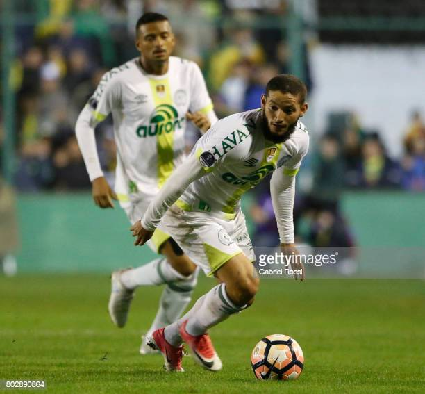 Arthur Caike of Chapecoense drives the ball during a first leg match between Defensa y Justicia and Chapecoense as part of second round of Copa...