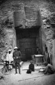 Arthur Callender assistant to British archaeologist Howard Carter at the entrance to the tomb built for Egyptian pharaoh Ramesses XI in the Valley of...