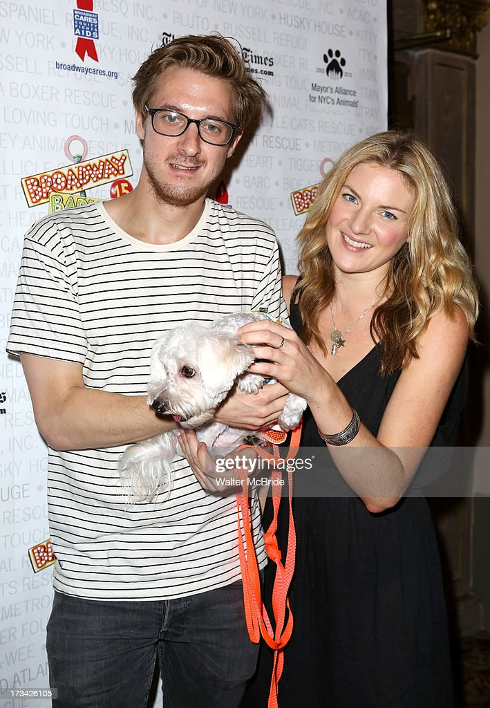 Arthur Darvill and Joanna Christie backstage during Broadway Barks 15 in Shubert Alley on July 13, 2013 in New York City.