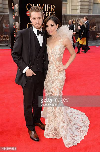 Arthur Darvill and Zrinka Cvitesic attends the Laurence Olivier Awards at the Royal Opera House on April 13 2014 in London England