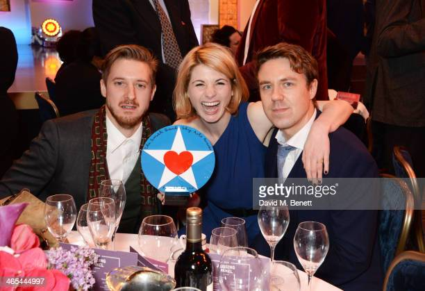 Arthur Darvill Jodie Whittaker and Andrew Buchan pose with Broadchurch's award for TV Drama at the South Bank Sky Arts awards at the Dorchester Hotel...