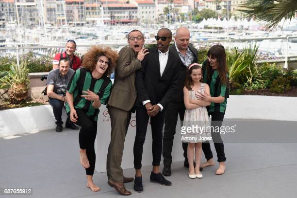Arthur De Pins Mat Bastard Alexis Ducord and Esther CorvezBeaudoin and members of the cast attend the 'Zombillenium' photocall during the 70th annual...