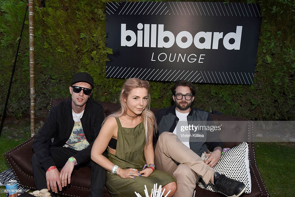 Arthur Delaney, Lotti Benardout and Dom Goldsmith of Haelos attend The Music Lounge In Palm Springs at the Ingleside Inn on April 16, 2016 in Palm Springs, California.