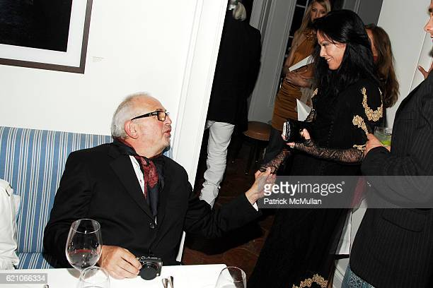 Arthur Elgort and Lady Amanda Harlech attend CHANEL Private Dinner for KARL LAGERFELD at Casa Tua on May 14 2008 in Miami Beach FL