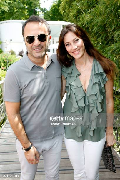 Arthur Essebag and his companion Mareva Galanter attend the Men Final of the 2017 French Tennis Open Day Fithteen at Roland Garros on June 11 2017 in...