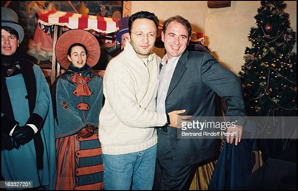Arthur Essebag and Philippe Risoli at the 1996 premiere of 'Bossu De Notre Dame' held at the Rex in Paris
