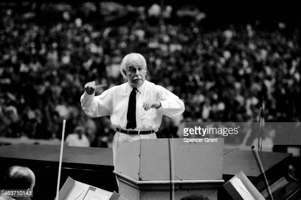 Arthur Fiedler conducts the Boston Pops at the Hatch Shell Boston Massachusetts 1972