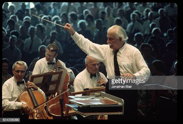 Arthur Fielder conducts the Boston Pops Orchestra at Tanglewood in Lenox Massachusetts