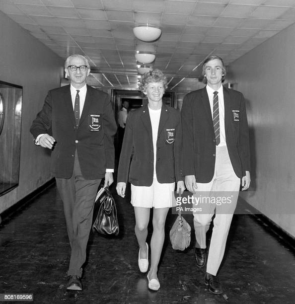 Arthur Gold head of the British Athletics team Pat Lowe and Britain's women's team captain and her male counterpart Alan Pascoe leave for the...