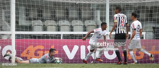 Arthur Gomes of Santos celebrates his goal during the match between Santos and Atletico Mineiro as a part of Campeonato Brasileiro 2017 at Vila...