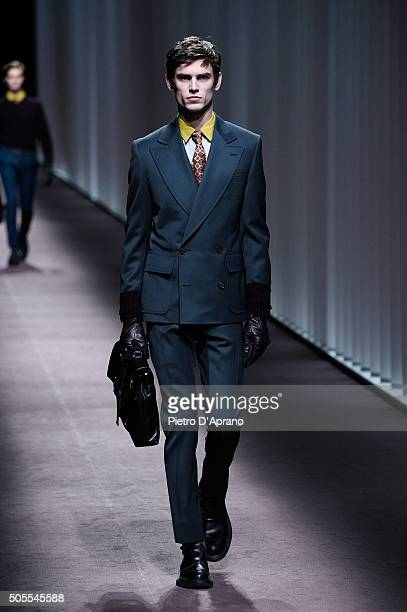 Arthur Gosse walks the runway at the Canali show during Milan Men's Fashion Week Fall/Winter 2016/17 on January 18 2016 in Milan Italy