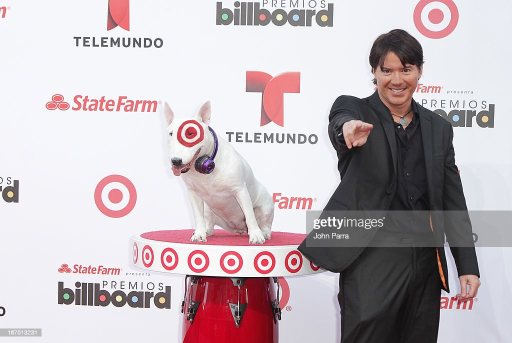 Arthur Hanlon celebrates with Bullseye, Target's Beloved Bull Terrier Mascot, at the 2013 Billboard Latin Music Awards at BankUnited Center on April 25, 2013 in Miami, Florida.