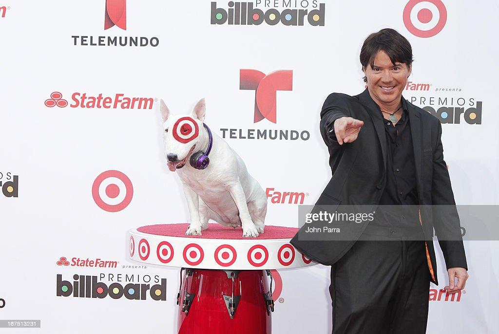Arthur Hanlon celebrates with Bullseye, Target's Beloved Bull Terrier Mascot, at the 2013 Billboard Latin Music Awards at BankUnited Center on April 25, 2013 in Miami, Florida.