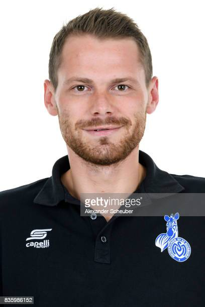 Arthur Jarzombeck of MSV Duisburg poses during the Allianz Frauen Bundesliga Club Tour at MSV Duisburg on August 17 2017 in Duisburg Germany