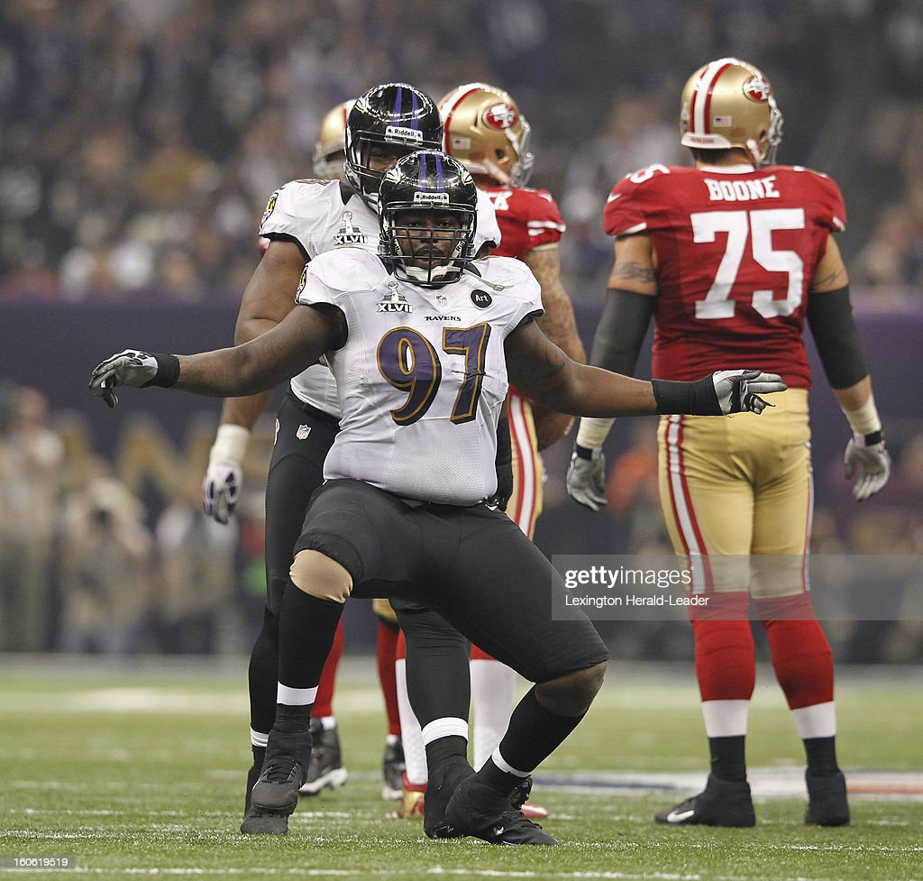 Arthur Jones (97) of the Baltimore Ravens celebrates after sacking Colin Kaepernick (7) of the San Francisco 49ers in third-quarter action in Super Bowl XLVII at the Mercedes-Benz Superdome in New Orleans, Louisiana, Sunday, February 3, 2013.