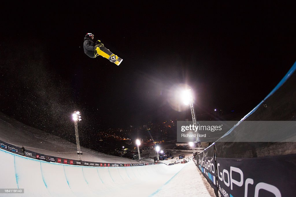 Arthur Longo of France practices during the Superpipe training sessions during day two of Winter X Games Europe 2013 on March 19, 2013 in Tignes, France.