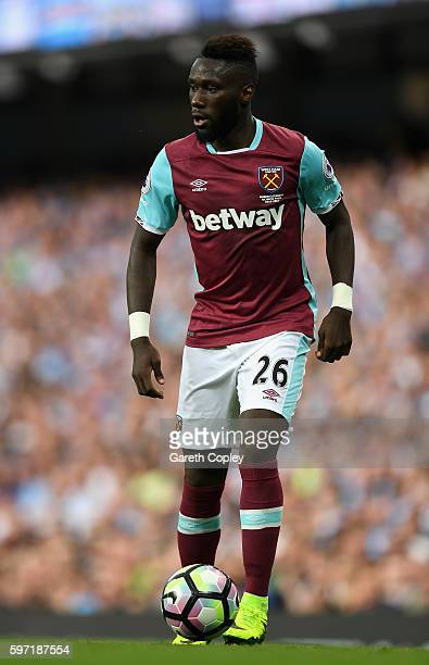 Arthur Masuaku of West Ham during the Premier League match between Manchester City and West Ham at Etihad Stadium on August 28 2016 in Manchester...