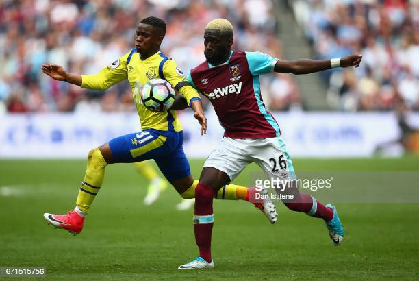 Arthur Masuaku of West Ham United and Ademola Lookman of Everton in action during the Premier League match between West Ham United and Everton at the...