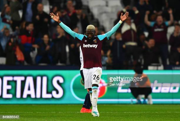 Arthur Masuaku of West Ham United celebrates scoring his sides third goal during the Carabao Cup Third Round match between West Ham United and Bolton...