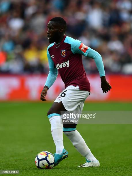 Arthur Masuaku of West Ham United controls the ball during the Premier League match between West Ham United and Swansea City at London Stadium on...