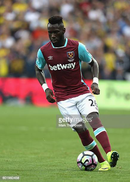Arthur Masuaku of West Ham United in action during the Premier League match between West Ham United and Watford at the Olympic Stadium on September...