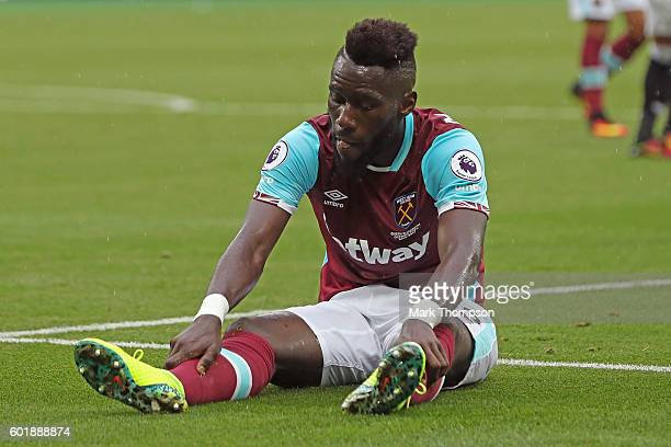 Arthur Masuaku of West Ham United reacts during the Premier League match between West Ham United and Watford at Olympic Stadium on September 10 2016...