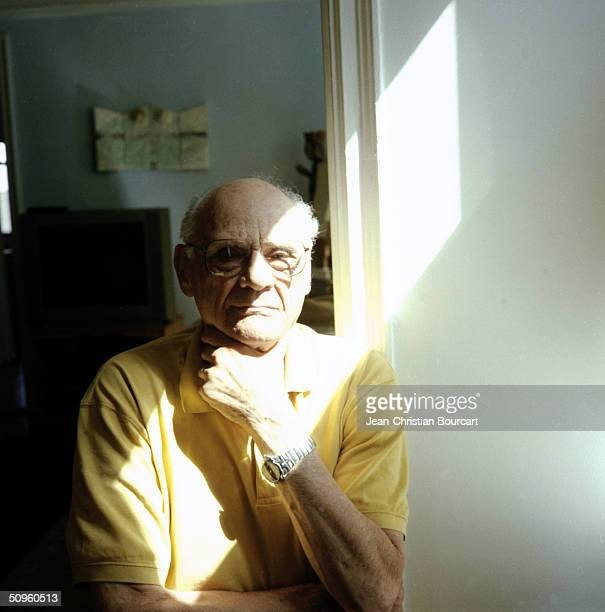 Arthur Miller screenplay writer and director poses March 21 2001 in his New York City apartment