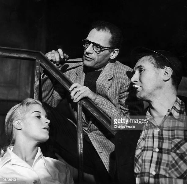 Arthur Miller the American playwright with Mary Ure and Anthony Quayle during rehearsals for 'A View From The Bridge' which has been banned for...