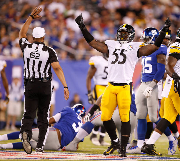 66ec8a55cff ... Arthur Moats 55 of the Pittsburgh Steelers celebrates his sack of  quarterback Geno Smith ...