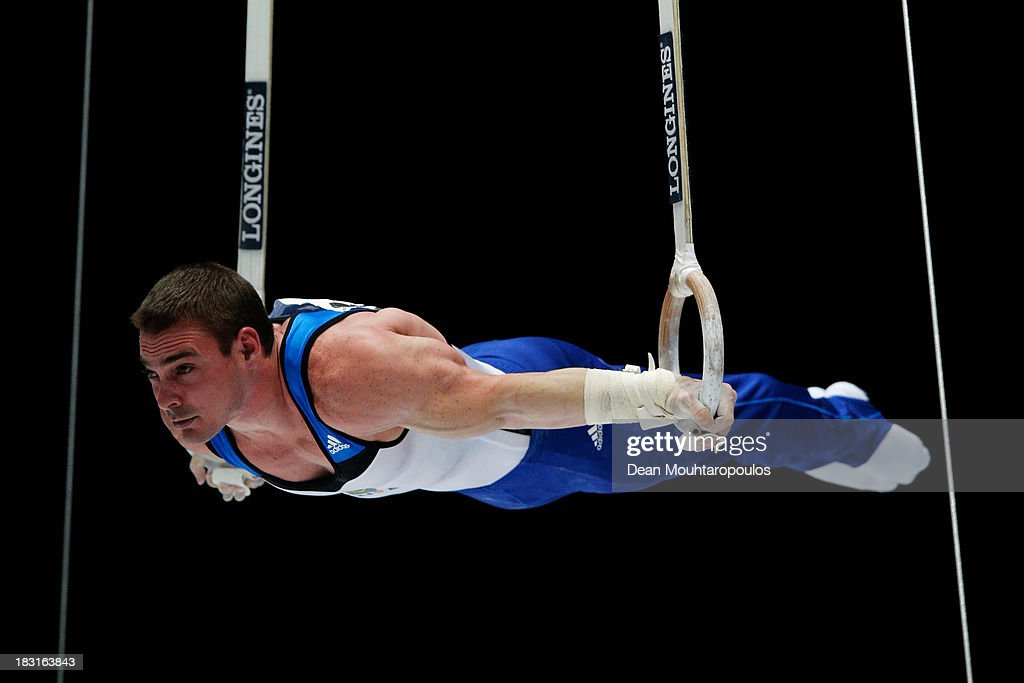 Arthur Nabarrete Zanetti of Brazil competes in the Rings Final on Day Six of the Artistic Gymnastics World Championships Belgium 2013 held at the Antwerp Sports Palace on October 5, 2013 in Antwerpen, Belgium.